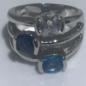Lia Sophia Blue Bayou Ring Crystals & Cubic Zirconia Size 7 Retired  Statement