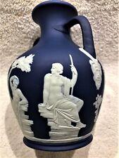 "C.1891 ~ Wedgwood Jasperware Dip Cobalt Blue ""Portland"" Handled Vase Rare 7"" H."