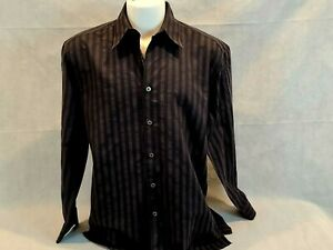 ZANELLA MADE IN ITALY BLACK MODERN PRINT LONG SLEEVE  SHIRT - SIZE XL