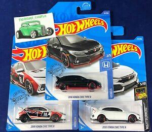 Hot Wheels - Lot of 3 - HONDA - New K Case CIVIC Type R - 3 Colors - B149