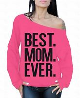 Best Mom Ever Off the shoulder oversized slouchy sweater sweatshirt Mother's Day