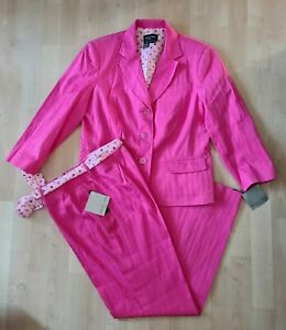 FOCUS 2000 Petite Womens Hot Pink Pants Suit 3/4 Sleeve Ankle Lngth Size 12P NWT