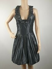 Cue Grey Satin Evening Cocktail Bubble Skirt Dress / Size 8