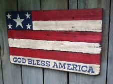 """God Bless America - Wooden Hand Painted Patriotic Flag Sign - 20"""" x 11.75"""""""