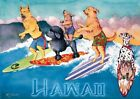 """Vintage Surf Art Surfing Dogs Hawaii A2 CANVAS PRINT Poster 24"""" X 16"""""""