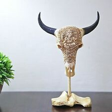 Carved Cow Skull Decor Taxidermy longhorn bull Sculpture Bone Carving Decoration