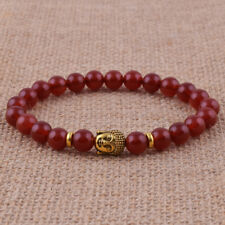 8mm Red Natural Agate Gold Buddha head Energy Round Beaded Stretch Bracelet