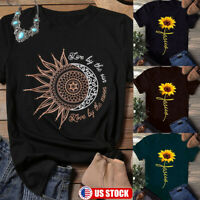 Womens Sunflower Print Shirts Short Sleeve Tops Loose Blouse Round Neck T Shirt