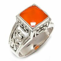 Carnelian Natural Gemstone Handmade 925 Sterling Silver Ring Size 8 R-130
