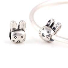 Bunny Rabbit European Charm con rosa regalo sacchetto-tono argento-Animale Carino
