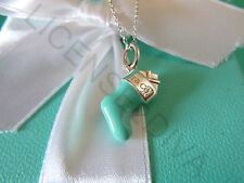 """TIFFANY & CO STOCKING CHARM WITH 18"""" TCO CHAIN STERLING RETIRED BLUE ENAMEL NEW"""