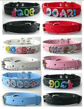 10pcs 370*10mm  Copy Leather Puppy Pet Collar Fit 8mm DIY slide charms