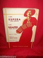 MARIO GARBO Espera + Siempre 1934 Spartiti Sheet Music Tango Argentino