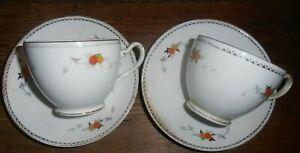 Pair Heathcote China tea cups/ saucers: hand painted Art Deco. Bone China. Retro