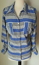 Notations large blue black white pockets striped blouse