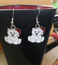 SALE Adorable Christmas Baby Polar Bear Santa Hat Dangle Charm Earrings Jewelry