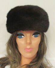VINTAGE 1961 ERIKA LEMKE GENUINE MINK FUR HAT WITH CHIN STRAP MADE IN GERMANY