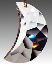 RARE Swarovski Strass Crystal Clear Faceted Crescent Moon 1 Hole 30mm x 20mm