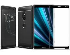 For Sony Xperia XZ3 Case Carbon Cover & Full Glass Screen Protector