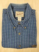 ■104 Woolrich Mens Shirt XXL 2XL Blue Plaid Flannel Long Sleeve Button Up