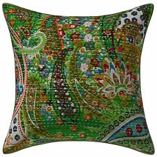Kantha Printed Unique Cotton Cushion Cover Green 16x16 Paisley Pillow Case