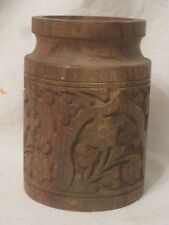 """carved wood container ornate wooden 4"""" carving cup pencil holder marked """" HA 2""""?"""