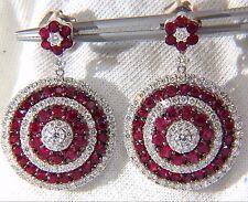 9.74ct NATURAL RED RUBY DIAMOND DANGLING EARRINGS 18KT ROULETTE BULLS EYE+
