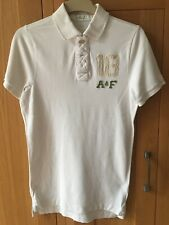 Abercrombie And Fitch Mens Muscle White Polo XL With Lots Of Applique On Back
