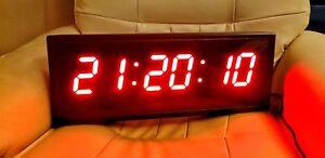 Large Jumbo Display Digital Clock LED RED DIGITS Simple HH:MM:SS 48x19x4.45cm