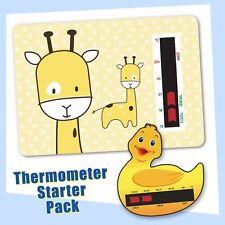Baby Duck Bath & Yellow Giraffe Nursery Room Thermometer Starter Pack
