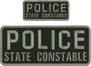 POLICE STATE CONSTABLE embroidery Patches 4x10 and 2x5 hook on back BLK/GRAY