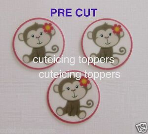 12 PRE CUT MONKEY EDIBLE RICE WAFER PAPER CARD BIRTHDAY PARTY CUPCAKE TOPPERS
