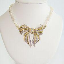 Halskette Gold 585 Perlenkette Biwaperlen 0,45ct Brillant Goldanhänger Collier