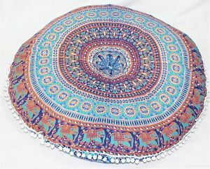 Round Shape Cushion Cover Use Floor Pillow Case 32 Inch Size Made In India Print