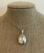 """Vtg Hallmarked 925 FAS Etched Oval Locket Pendant on 925 Box Chain 8 Grams 24"""""""
