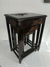 Vintage Oriental Hand Carved Set of Three Nesting Tables