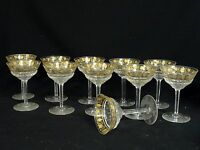 SET 11 VINTAGE 50's VAL St LAMBERT CRYSTAL PAMPRE D'Or GRAPES CHAMPAGNE GLASS