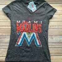 NEW Majestic Women Gray LARGE Miami Marlins Shirt Top Baseball MLB Florida - C19