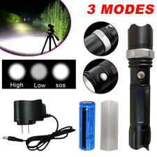 900000LM LED Flashlight Tactical Zoom High Power Camping Torch 18650Batt+Charger