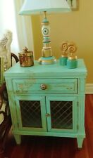 Hand Painted Vintage French Style Chest/End Table/ Cabinet Aqua Blue
