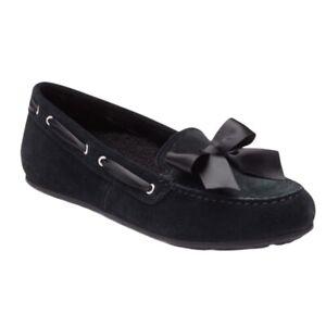 Vionic Womens Alice Moccasin Slipper Shoes Black Bow Slip On Moc Toe 5 New