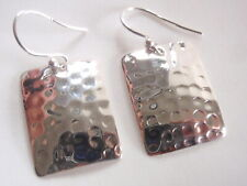 Hammered Convex Rectangle Dangle Earrings 925 Sterling Silver