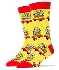 JyinStyle Men's Luxury Combed Cotton Crew Socks, Burgers on Wheels, Oooh Yeah