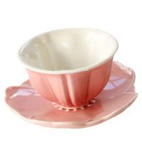 Ceramic Coffee Milk Cup Porcelain Mugs with Saucer, Sakura Shaped, Cute Gift