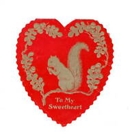 Heart Children's Valentine Squirrel To My Sweetheart Red Gold Die Cut