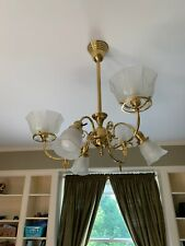 Rejuvenation Brass Chandelier, Victorian Gas Light Style, 6 Etched Glass Shades