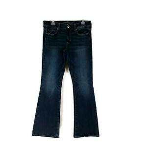 American Eagle Womens sz 12 Dark Wash Faded Kick Boot Cut Jeans Super Stretch