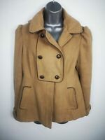 WOMENS NEW LOOK BEIGE BUTTON UP DOUBLE BREASTED SHORT SMART PEA COAT SIZE UK 12