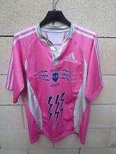 Maillot rugby STADE FRANCAIS PARIS SF Adidas shirt rose argenté L moulant