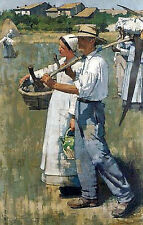 Oil painting henry herbert la thangue - In the Dauphiné farmers in landscape art